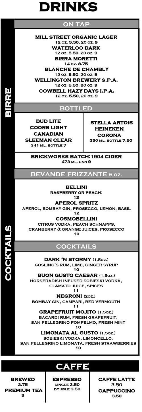 Cocktails and Beer Menu
