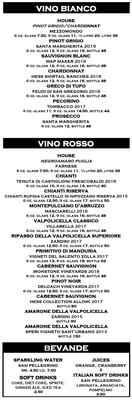 Italian Wine Menu 2021